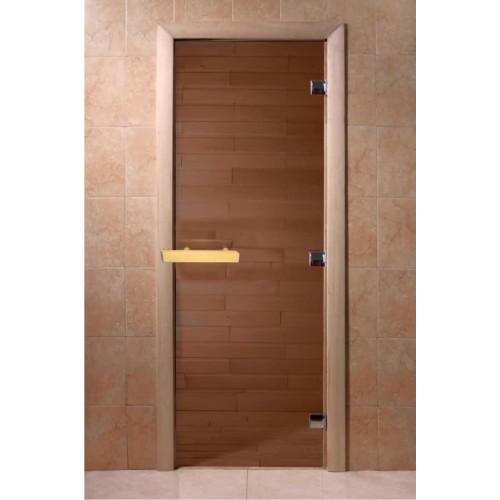 Стеклянная дверь для бани бронза Doorwood 8 мм