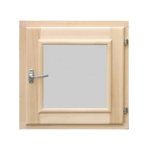 Деревянное окно для бани 400 × 400 миллиметров